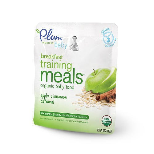 Plum Organics Breakfast Training Meals Baby Food Apple Cinnamon Oatmeal - 4oz - 12 Pack