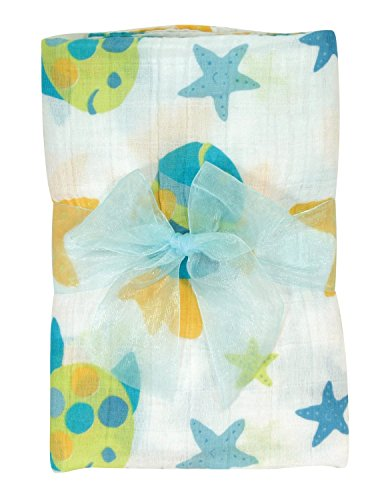 Stephan Baby Go Fish Cotton Muslin Swaddle Blanket, Blue Fishes - 1