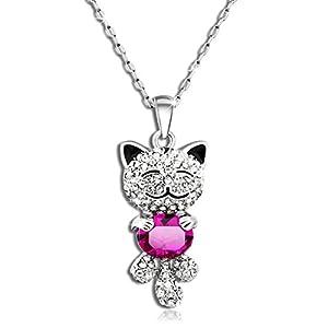 P&M Cristal LUCKY CAT Chat Ruby Collier femme fille Petit chat souriant rose Bijoux fantaisie plaque or blanc anniversaire Cadeau