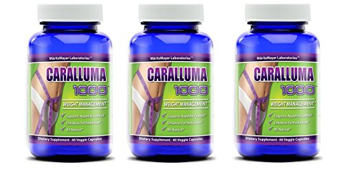 Caralluma 1000 - Weight Loss, Appetite Control, Fat Reduction, All Natural, 1000mg (60 Veggie Caps) (3 Bottles) (Caralluma Extract 1000 compare prices)