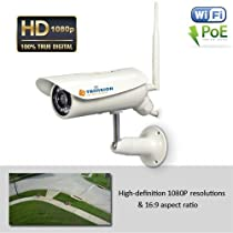 TriVision NC-336PW Wi-Fi Wirelss & POE Combo HD 1080P Home IP Security Camera Outdoor. Install in 3 Steps with Our Free iPhone, iPad and Android apps. 15m Night Vision, Motion Sensor, SD card DVR expadable 128Gb, and more