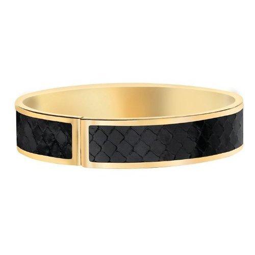 Glamnoir Black Snake Skin Bangle (Black/Gold)