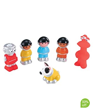 Go on intergalactic adventures with this cool set of 6 space figures. Includes 4 astronauts, robot, alien and space dog.  Suitable from 18 months to 4 years