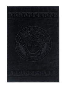Versace classic medusa towels in black for Versace bathroom accessories
