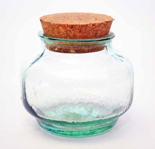 SET OF 6, SPANISH GREEN RECYCLED GLASS CAPRI SHAPE SPICE JAR WITH CORK 10 OZ, 3