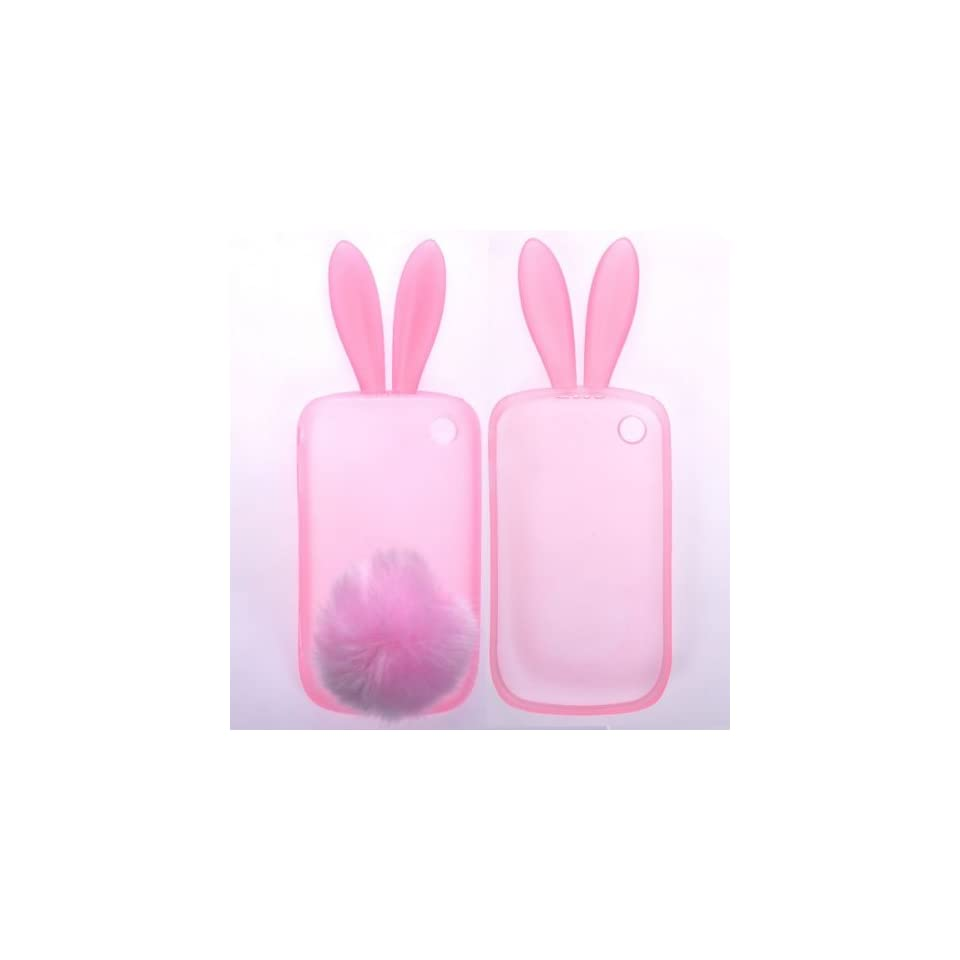 Red Rabit Bunny Design Soft Silicone Skin Gel Cover Case with Fur Tail Stand for Blackberry 8520 8530 9300 + Lcd Screen Guard + Microfiber Pouch Bag