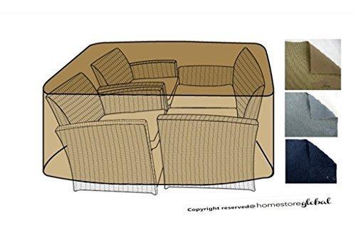 HomeStore Global, Abdeckung für große Rattan Gartenmöbel / Cube mit runden Ecke Abdeckung in braun - Dick und dauerhafte Qualität 600D Polyester Leinwand, all-wetterfest und Feuchtigkeit