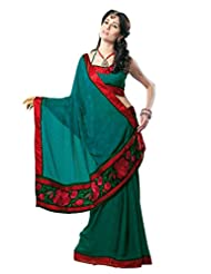 Anvi Creations Georgette Crepe Embroidered Teal Green Saree (Teal Green_Free Size)