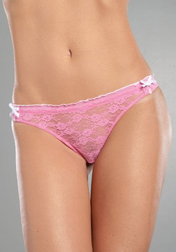 Lace Thong With Marrow Edge Ruffles And Velvet Bows