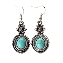 buy Ginasy Silver Plated Flower Turquoise Drop Earrings