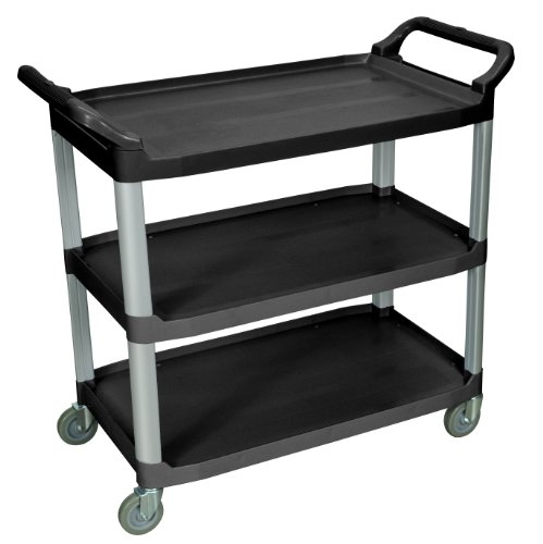 LUXOR SC13-B Large 3-Shelf Serving Cart, 37.25