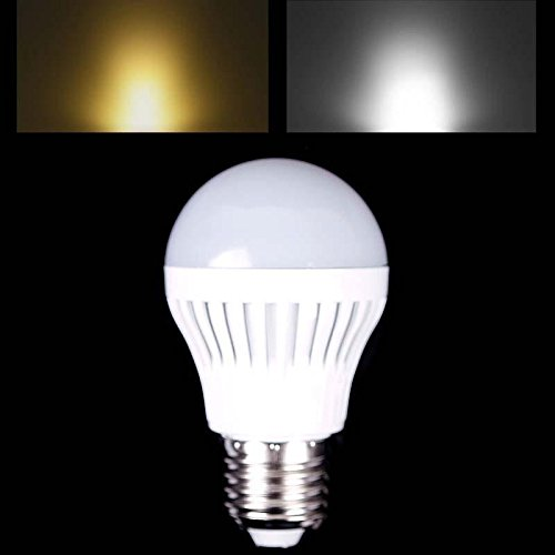 E27 5W Smd 5730 Led Plastic Globe Bulb Ball Light Lamp Warm Pure White Ac 220V #07