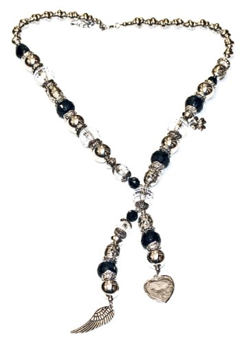 Heart & Wing Charm Multi Bead and Metal Necklace