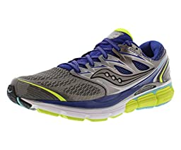 Saucony Women\'s Hurricane ISO-Series Running Shoe,Grey/Twilight/Citron,8.5 M US