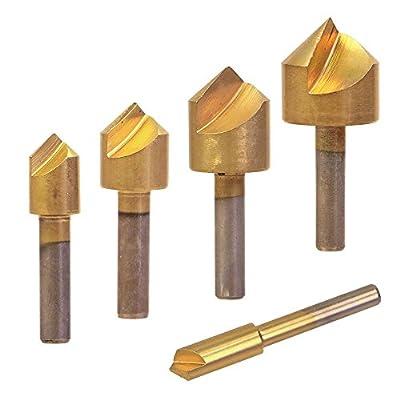 "Drill Warehouse 5 Pc Titanium Chamfering Countersink Drill Bit Set - 1/4"" to 3/4"" - 6mm 10mm 13mm 16mm 19mm for Wood Metal Quick Change Drill Bit Set"