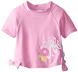 i play. Baby Girls\' Short Sleeve Bow Rashguard, Pink, 12 Months