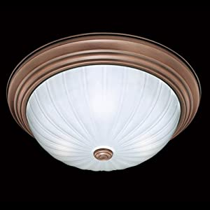 Thomas Lighting SL8683-14 Three Light Flush Mount, Brushed Antique Copper Finish with Etched Melon Glass