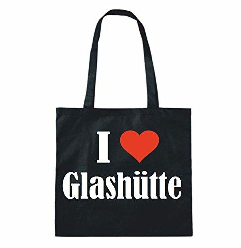 """Tasche""""I Love Glashütte""""Größe""""38x42""""Farbe""""Schwarz""""Druck""""Weiss"""