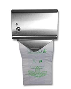 "S.A.C SD2010R 22 Gauge Steel Sanitary Napkin Disposal Bag Roll Dispenser, 5-1/4"" Length x 5-1/8"" Width x 3-1/2"" Height, Stainless Steel"