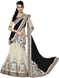 Krishna ECommerce Black Color Embroidered Net::Georgett Lehenga Choli