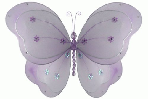 "Hanging Nylon Butterfly Craft Nursery Bedroom Girls Room Ceiling Wall Decor, Wedding Birthday Party Baby Bridal Shower Decorations - Chloe Butterfly Room Decor - 5"" Purple"