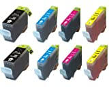 8-Pack Ink w/ Chip for PGI-5BK CLI-8 Canon Pixma iP3300 iP3500 MP510 MX700