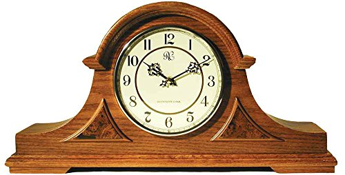 Large Tambour Mantel Clock with Medium Oak Finish