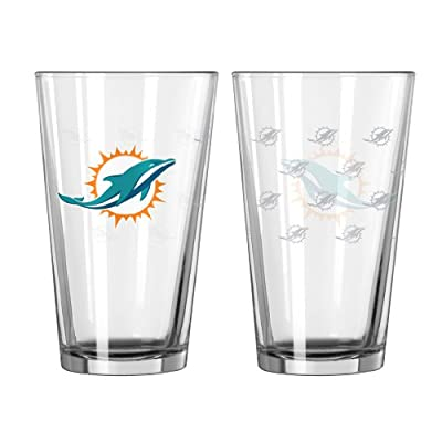 NFL Miami Dolphins Satin Etch Pint Glass, 16-ounce, 2-Pack