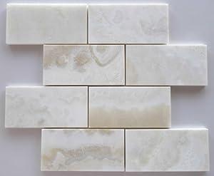 White Onyx CROSS-CUT 3 X 6 Subway - Brick Polished Tile - SAMPLE