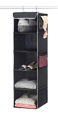 Zober 5 Breathable Hanging Shelves, Hanging Closet Organizer for Shoes Accessory and Clothes Storage