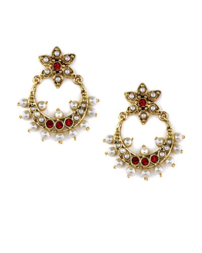 Bindhani Traditional Ethnic Chandbali Red Earrings For Women( Chand Bali)  available at amazon for Rs.217