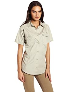 Columbia Women's Bonehead Short Sleeve Fishing Shirt (Fossil, Sage, X-Small)