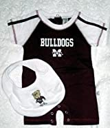 Mississippi State Bulldogs Infant Romper & Detachable Bib Maroon