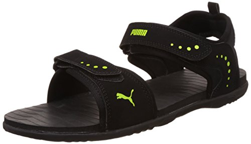 Puma Men's Black and Lime Punch Sandals and Floaters - 8 UK/India (42 EU)