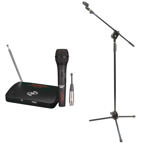 Pyle Mic And Stand Package - Pdwm100 Dual Function Wireless/Wired Microphone System - Pmks3 Tripod Microphone Stand W/ Extending Boom