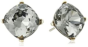 Cara Swarovski Crystal Single Stone Black Diamond Stud Earrings
