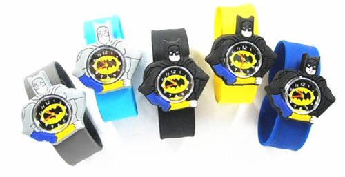 Cartoon 3D Watch Rubber Snap-On Slap Cuff Boys Girls Watches Birthday Gift (Black)