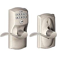 Schlage FE595VCAM619ACC Camelot Keypad Accent Lever Door Lock - Satin Nickel