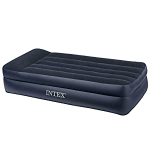Intex Pillow Rest Raised Airbed with Built-in Pillow and Electric Pump, Twin, Bed Height 16 1/2""