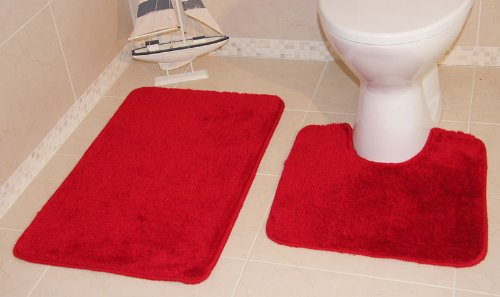 Bolero Bright Red Shaggy Bath and Pedestal Bathroom Mats 2 Piece Set 1097 - 2 Sizes