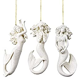 3 Mermaid Christmas Ornaments with Sparkle Finish by Ohio Wholesale