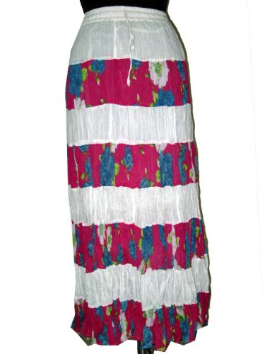 Womens Summer Fashion Tie Dye long skirts in White-Pink cotton 40&quot;