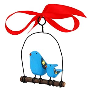 Rosso's International WB2 Bluebird on a Swing Birdhouse Ornament, 4 by 3 by 6-Inch, Set of 3