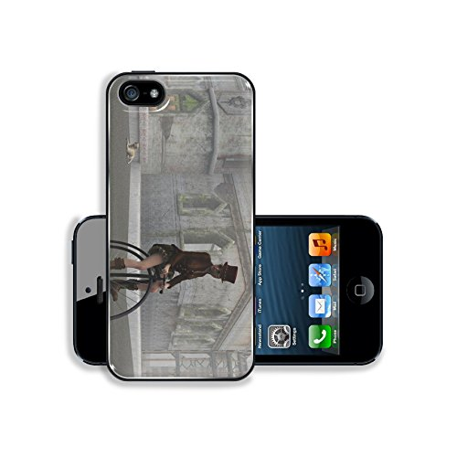 Liili Premium Apple iPhone 5 iphone 5S Aluminum Snap Case Steampunk female in top hat and short skirt riding penny farthing bike on cobbles in fog with dilapidated building 28427430