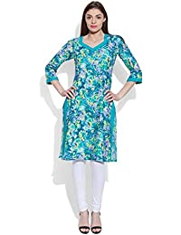 Very Me Women's Designer Turquoise Pure Cotton Printed Long Kurta