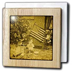 Girl and American Flag Vintage Christmas Antiqued tone - 6 Inch Tile Napkin Holder