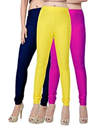 Fashion And Freedom Women's Pack Of 3 Navy,Yellow And Magenta Satin Leggings