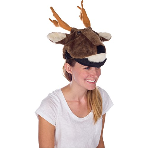 Rittle Furry White-tailed Deer Animal Hat, Realistic Plush Costume Headwear -One Size