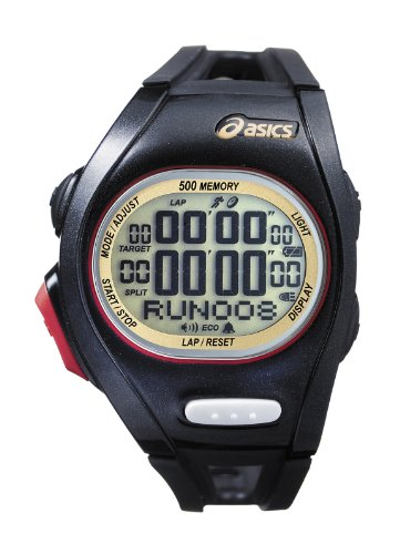 Asics Unisex Race CQAR0108 Black Polyurethane Quartz Watch with Digital Dial