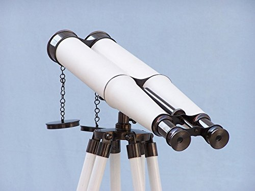 "Floor Standing Admiral'S Oil-Rubbed Bronze-White Leather Binoculars 62"""